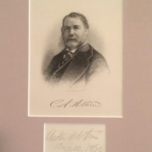 Chester A. Arthur matted professional print and authentic signature.