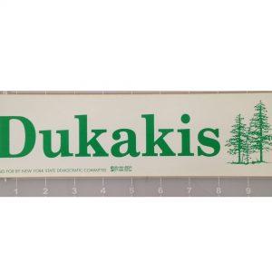 Dukakis green and white bumper sticker