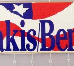Dukakis Bentsen patriotic bumper sticker that measures approximately 10/25 X 3 inches