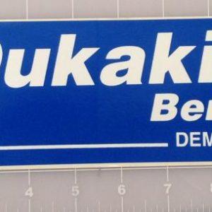 Dukakis Bentsen Democrats blue and white bumper sticker