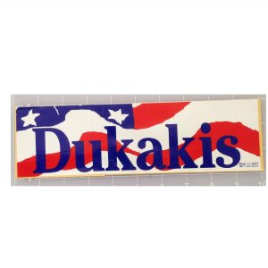 Dukakis Bentsen patriotic bumper sticker that measures approximately 10 X 3 inches