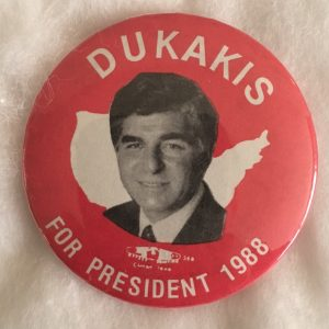 Dukakis For President 1988 Red Campaign button
