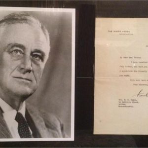 Franklin Roosevelt signature on White House stationary dated July 11th 1933
