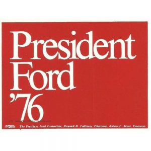 1976 President Ford 76 Red Vintage Bumper Sticker - Tall Version