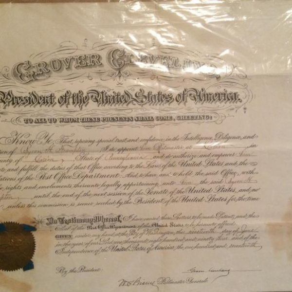 Grover Cleveland large document that measures 15 X 20 with Cleveland authentic signature