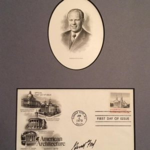 Professional Gerald Ford official first day of issue mounted photo with signature