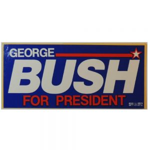 "George Bush for President Bumper Sticker. Measures 7 11/16"" W X 3 1/2"" H"
