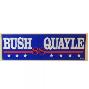 "Bush 88 Quayle Bumper Sticker. Measures 9 5/8""w x 2 7/8"" H"