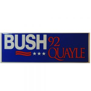 "Bush 92 Quayle Bumper Sticker. Measures 9""W X 3""H"