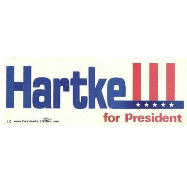 1972 Red, white, and blue Hartke For President Campaign Bumper Sticker