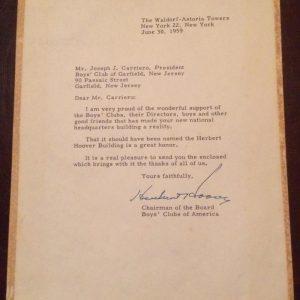Herbert Hoover Boys Club of America letter signed June 30