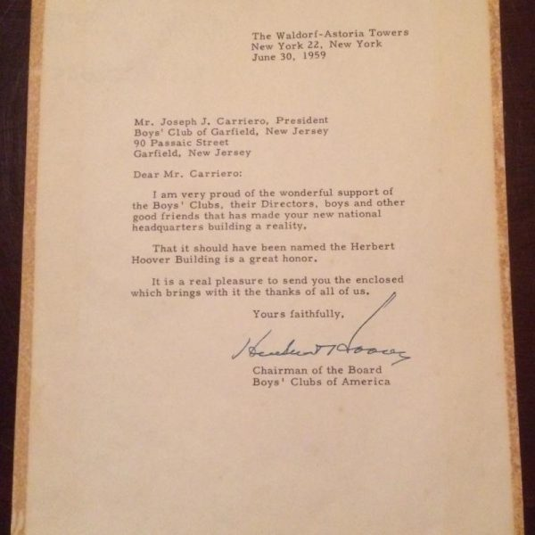 Herbert Hoover Boys Club of America letter signed June 30