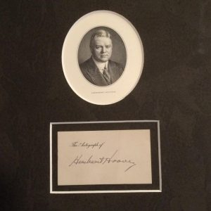 Herbert Hoover engraved card mounted photo with authentic signature