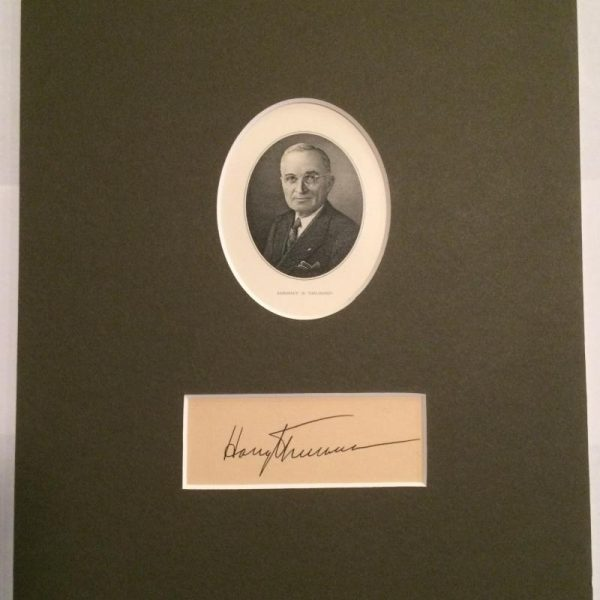 Beautiful engraved and mounted Harry S. Truman with authentic signature