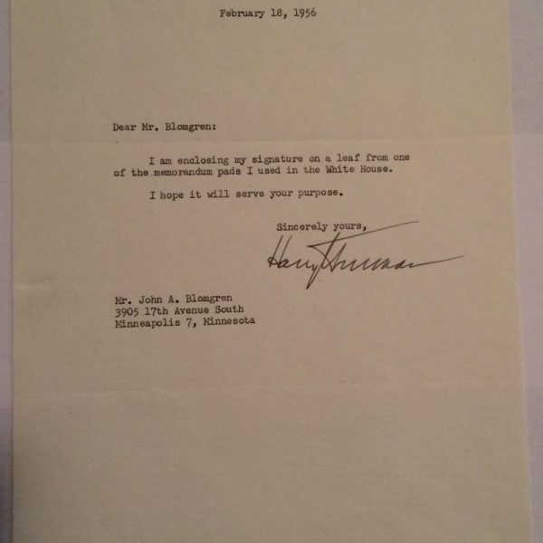 Letter from Harry S. Truman