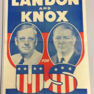1936 Landon and Knox Jugate Deeds not Deficits campaign poster