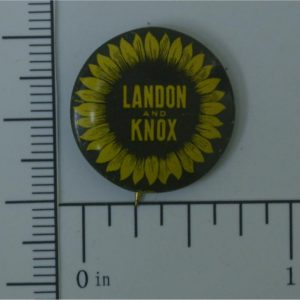 Landon and Knox .75 inch dark background with sunflower lithograph button