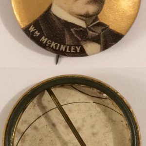"Face photo WM McKinley 1 - 1/4"" campaign button with original back paper"