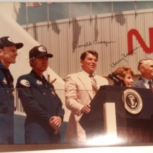 Ronald and Nancy Reagan photo with Signature at NASA