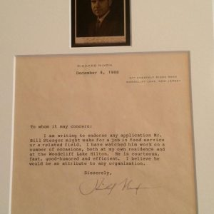 Richard Nixon mounted signature dated December 8
