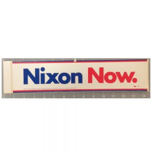 Nixon Now red, white, and blue bumper sticker