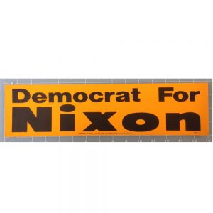 Democrat for Nixon yellow bumper sticker