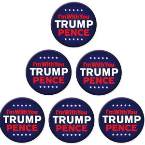 6 Pack Complete Set - IM with you Trump Pence Blue campaign button with red and white lettering