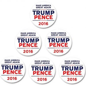 6 Pack Complete Set - White Make America Great Again Trump Pence 2016 Campaign Button