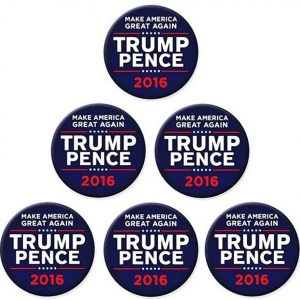 6 Pack Complete Set - Blue Make America Great Again Trump Pence 2016 Campaign Button with white and red lettering