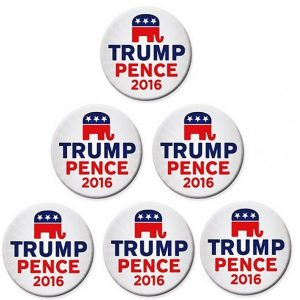 6 Pack Complete Set - White Trump Pence 2016 Elephant Campaign Button with white and red lettering. Measures 2.25 inches each