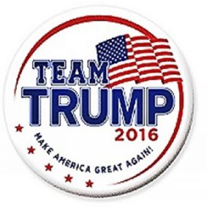 Team Trump 2016 Make America Great Again campaign button with American Flag