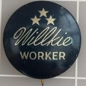 Blue Willkie Worker lithograph campaign button