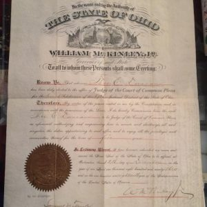 William McKinley Document signed December 12th with authentic signature