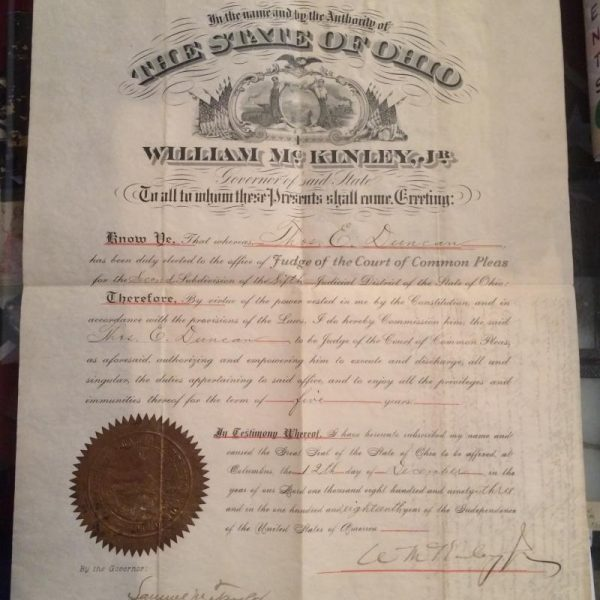 William McKinley Document signed December 12th with authentic signature