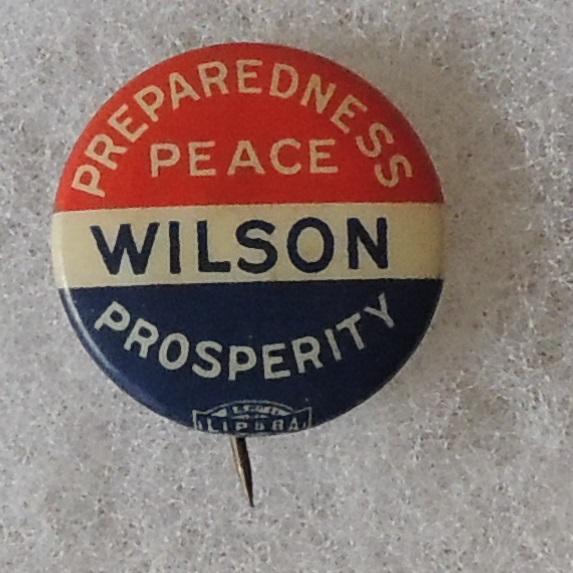 Original Preparedness Peace Wilson Prosperity Button with union bug center bottom