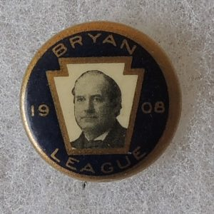 Bryan 1908 League blue and gold campaign button