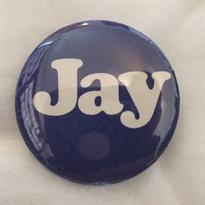 Jay Rockefeller 1 1/4 inch blue button with Jay