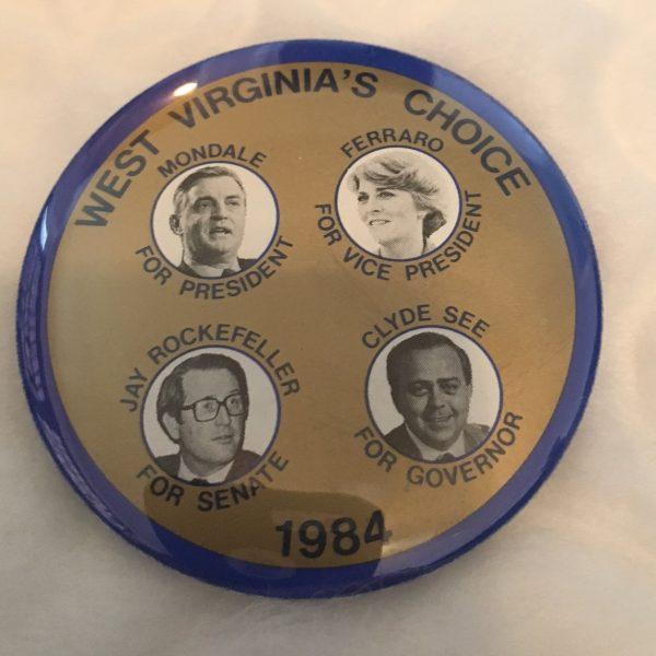 West Virginia's Choice 1984 Jay Rockefeller Button