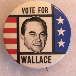 Vote for Wallace patriotic campaign button.