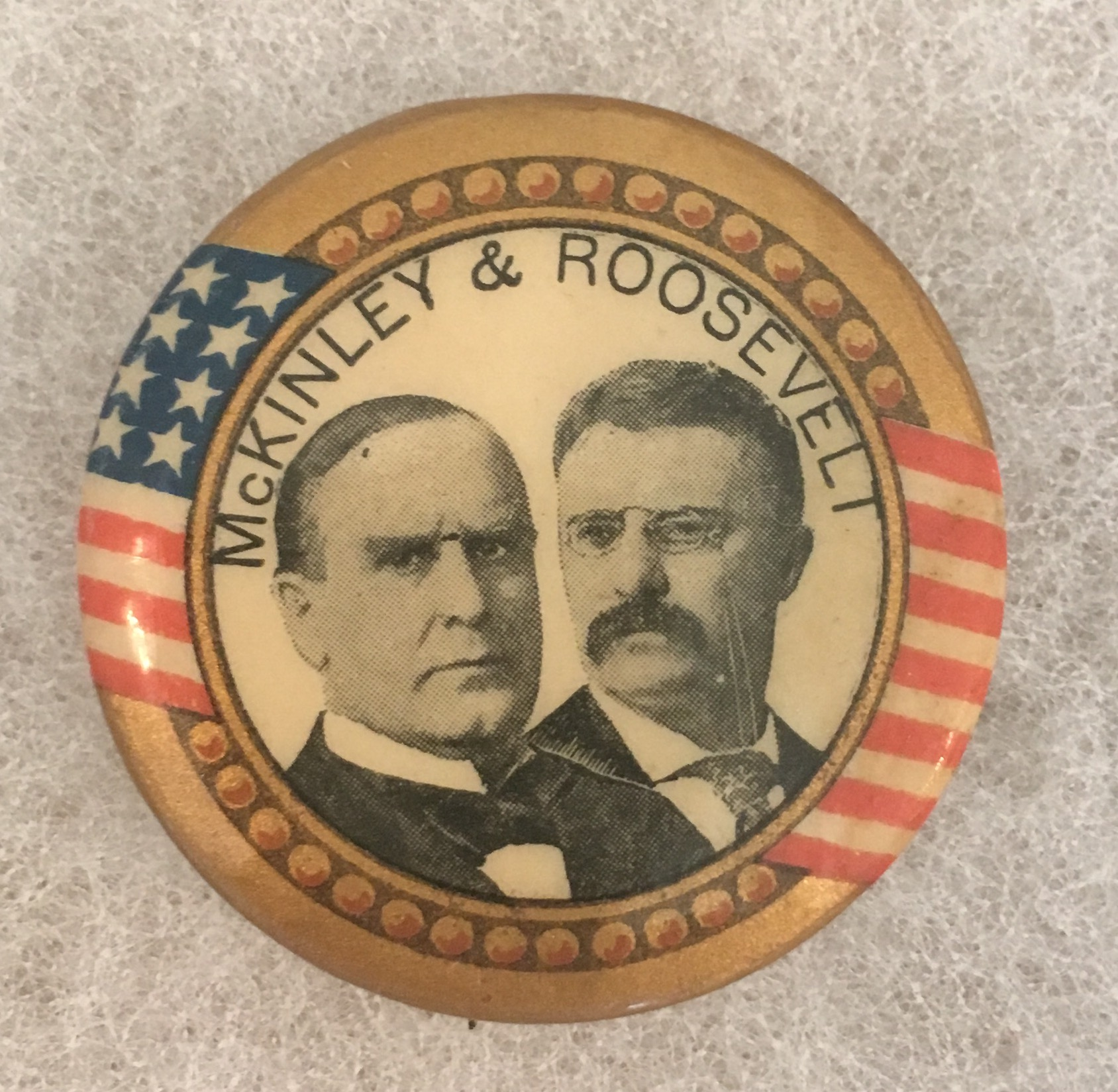 bd41a98670d 1 - 1 4 inch McKinley and Roosevelt celluloid campaign button ...