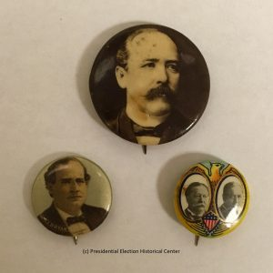 Alton B. Parker, William Bryan, and Taft Campaign button (Set of 3)