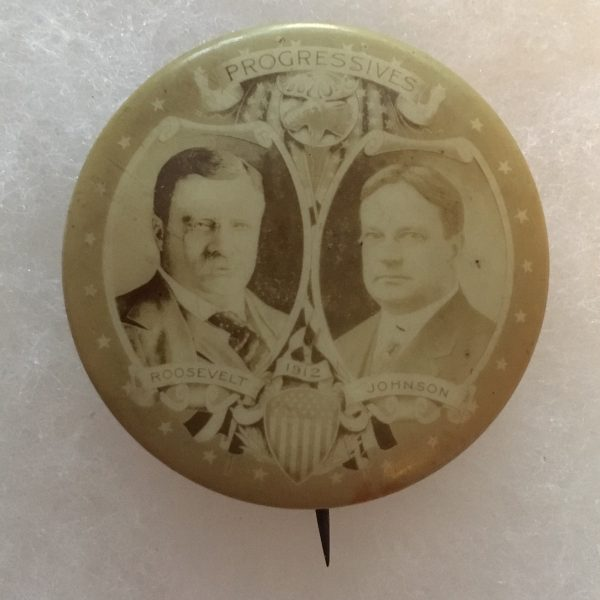 Very rare 1912 Theodore Roosevelt and Hiram Johnson Jugate