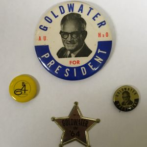 Barry Goldwater Set of 3 campaign buttons H20, B64, Star, and Gold