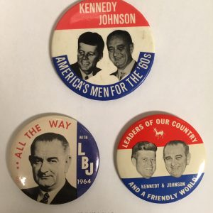John F. Kennedy and Johnson Set of 3 Campaign Buttons (Set of 3)