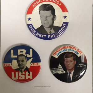 JFK, Inaururation Day, and LBJ Set of 3 Campaign Buttons (Set of 3)