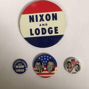 Richard Nixon Set of 4 Campaign Buttons - Nixon Lodge 1968