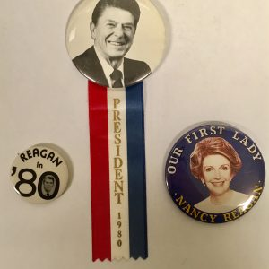 Very nice Ronald set of 3 Campaign Buttons with Regan Ribbon