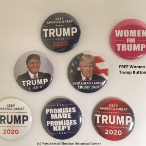 6 Pack Donald Trump 2020 Complete Set plus free Women for Trump bonus. Get all of the 2020 campaign buttons in one set. Features Trump 45, Keep America Great Again, Promises made promises kept, and other 2020 buttons