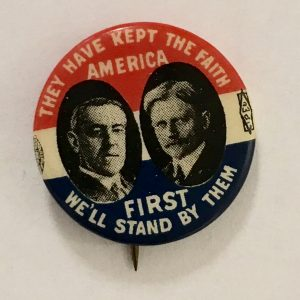 Woodrow Wilson & John Marshall 1916 Presidential Campaign Button