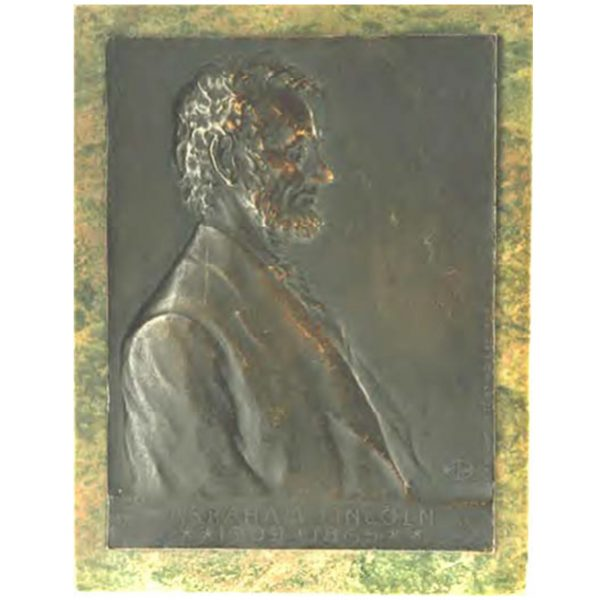 Rare Victor D. Brenner Plaque Abraham Lincoln with original green marble
